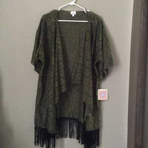 LulaRoe Green Open Fringe Cardigan Large